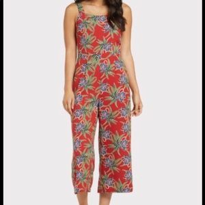 Moon River Tropical Print Jumpsuit in Rust